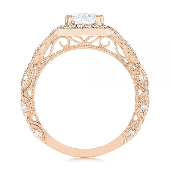 14K Rose Gold Split Shank Diamond Halo Engagement Ring - Front View -  104984 - Thumbnail