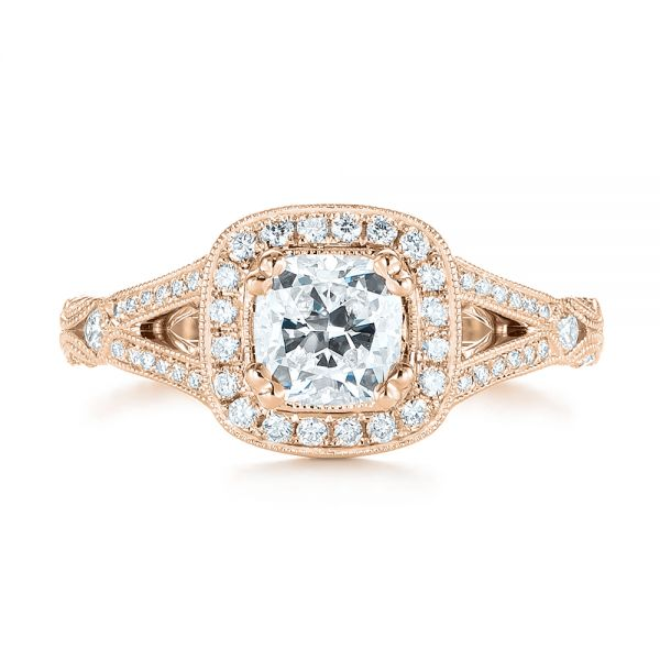 14K Rose Gold Split Shank Diamond Halo Engagement Ring - Top View -  104984 - Thumbnail