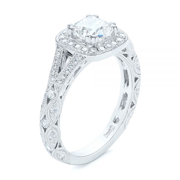 Split Shank Diamond Halo Engagement Ring - Image