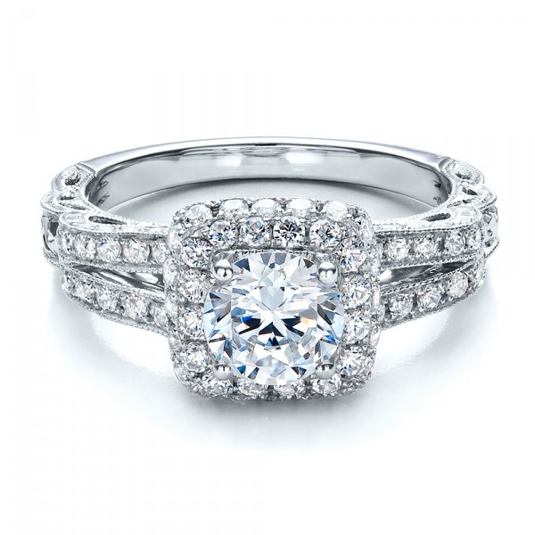 Split Shank, Halo Engagement Ring - Vanna K