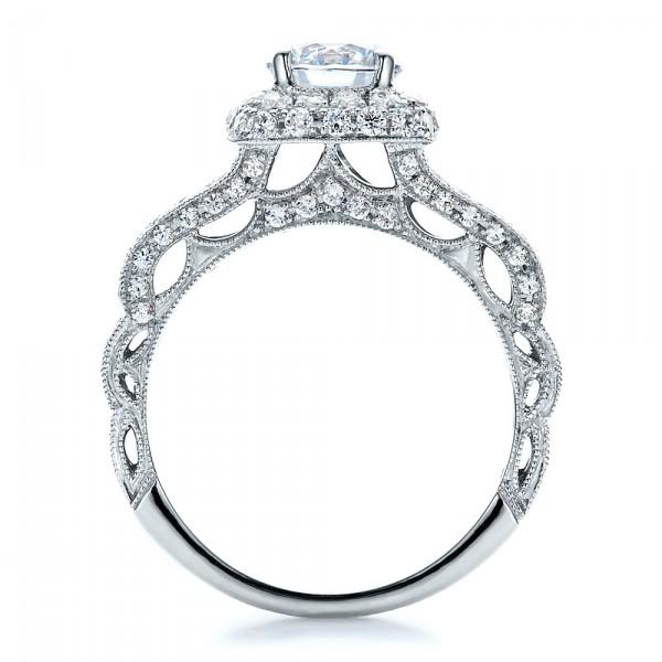 Split Shank, Halo Engagement Ring - Vanna K - Finger Through View