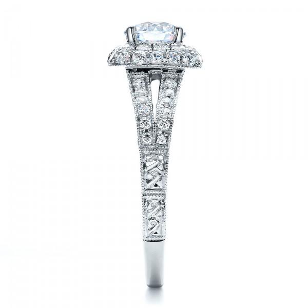 Split Shank, Halo Engagement Ring - Vanna K - Side View