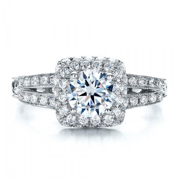 Split Shank, Halo Engagement Ring - Vanna K - Top View