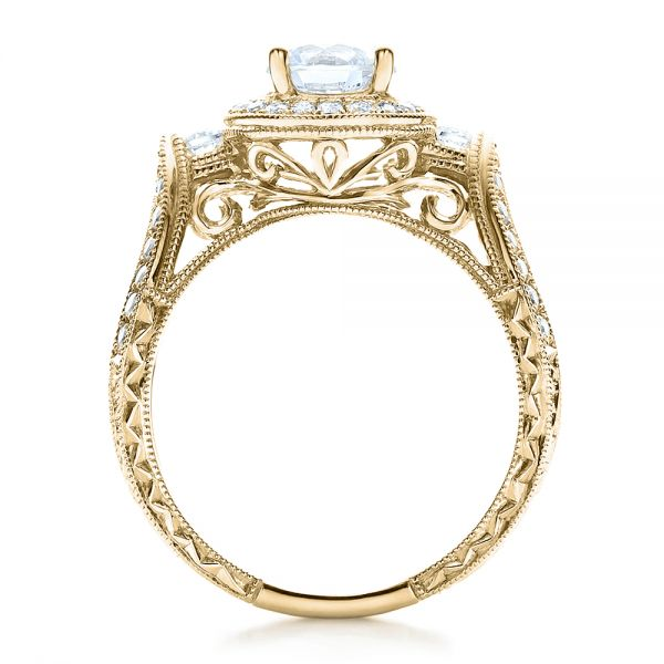 14k Yellow Gold 14k Yellow Gold Split Shank Prong Set Engagement Ring - Vanna K - Front View -  100081