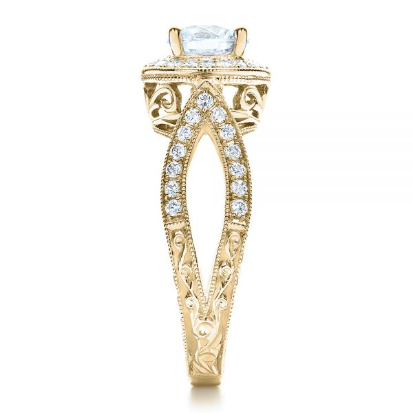 14k Yellow Gold 14k Yellow Gold Split Shank Prong Set Engagement Ring - Vanna K - Side View -  100081