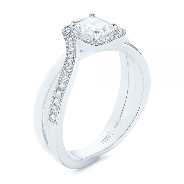 Split Shank Radiant Diamond Halo Engagement Ring - Three-Quarter View -  104859 - Thumbnail