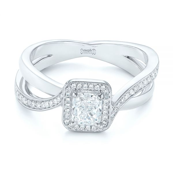 Split Shank Radiant Diamond Halo Engagement Ring - Flat View -  104859 - Thumbnail