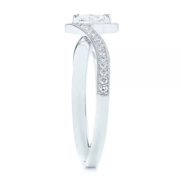 Split Shank Radiant Diamond Halo Engagement Ring - Side View -  104859 - Thumbnail