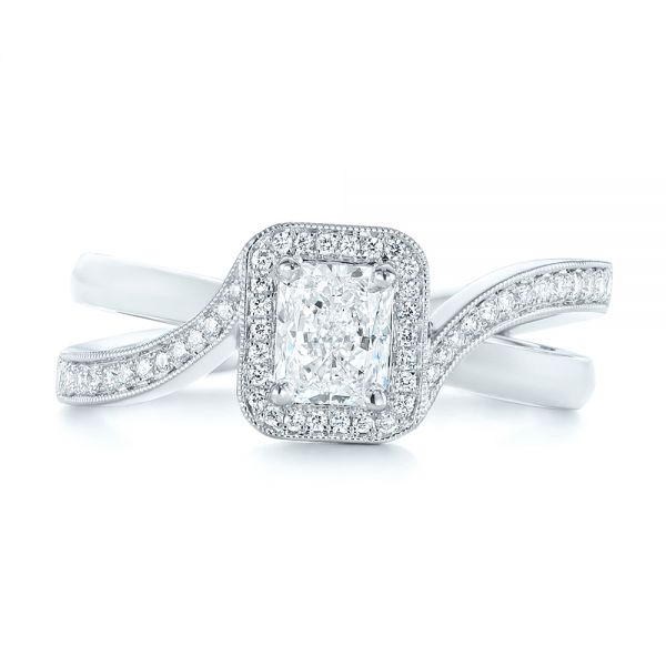 Split Shank Radiant Diamond Halo Engagement Ring - Top View -  104859 - Thumbnail