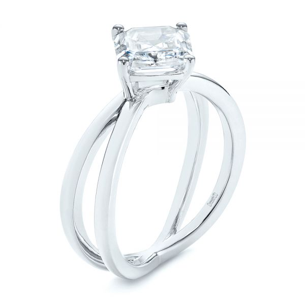 Split Shank Solitaire Asscher Diamond Engagement Ring - Image