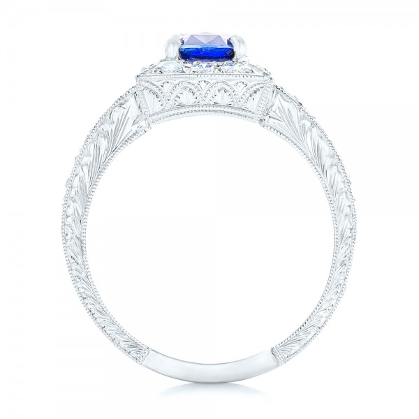 Square Halo Engagement Ring - Finger Through View