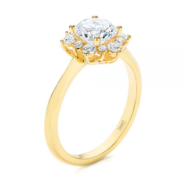Starburst Cluster Halo Diamond Engagement Ring - Image