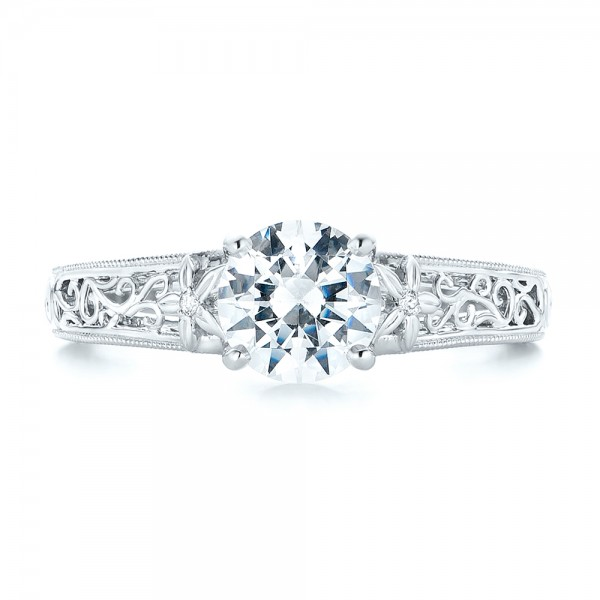 Vine Filigree Diamond Engagement Ring - Top View