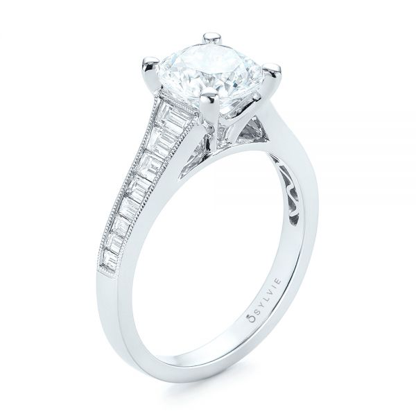 Tapered Baguettes Diamond Engagement Ring - Image