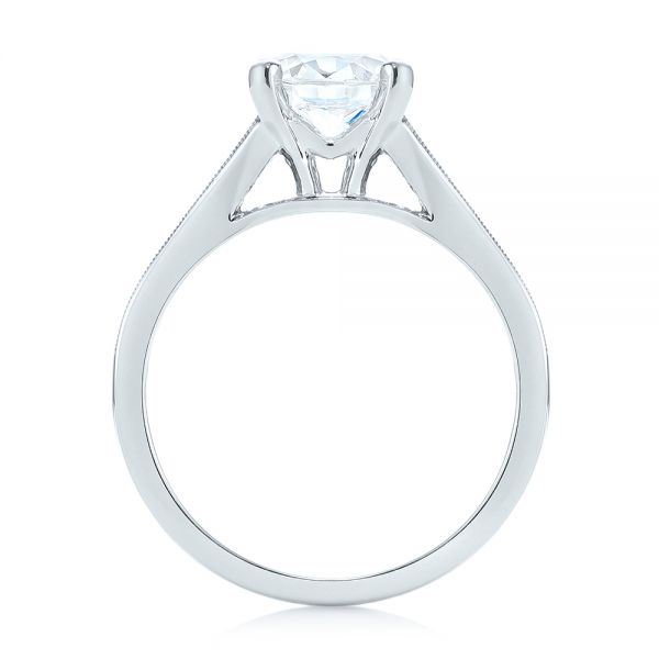 18k White Gold Tapered Baguettes Diamond Engagement Ring - Front View -