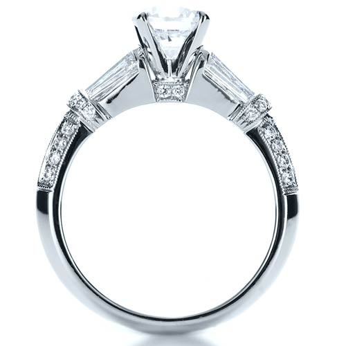Tapered Diamond Engagement Ring - Front View -  1146 - Thumbnail
