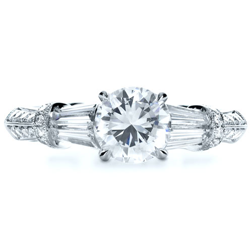 Tapered Diamond Engagement Ring - Top View -  1146 - Thumbnail