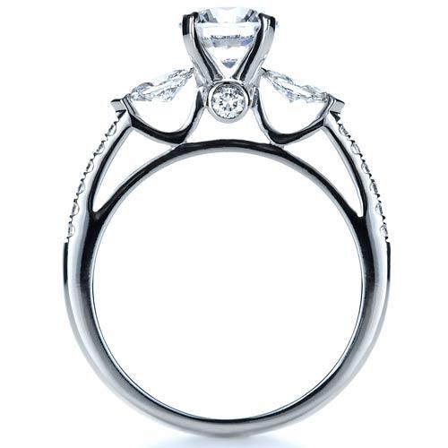 Tension Set Diamond Engagement Ring - Finger Through View