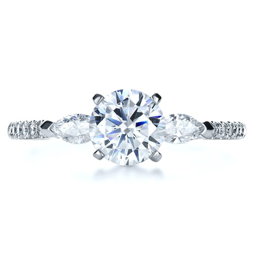 Tension Set Diamond Engagement Ring - Top View