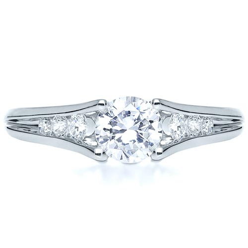 Tension Set Diamond Engagement Ring - Top View