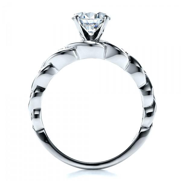Diamond Engagement Ring - Vanna K - Finger Through View