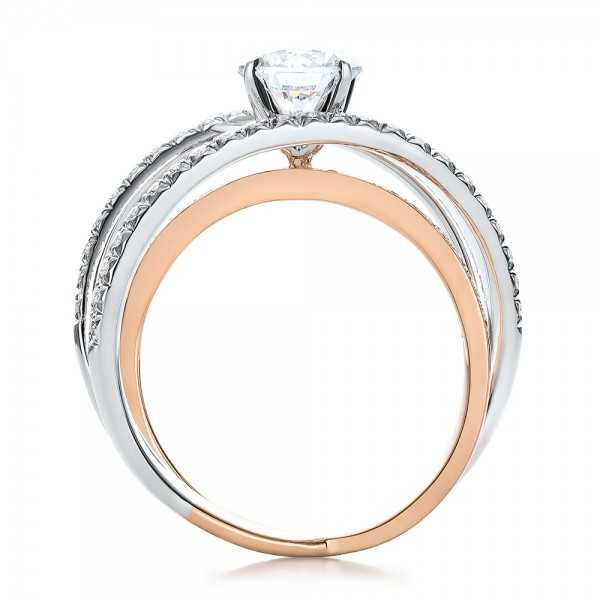 Three-Band Pink and White Diamond Engagement Ring - Finger Through View