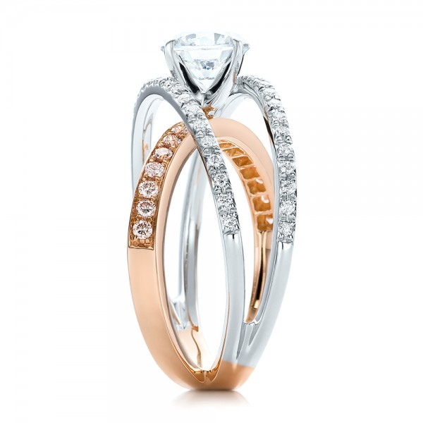 Three-Band Pink and White Diamond Engagement Ring - Side View