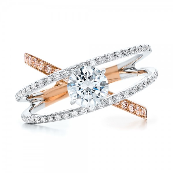 Three-Band Pink and White Diamond Engagement Ring - Top View