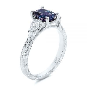 Three Stone Alexandrite and Pear Diamond Engagement Ring - Image