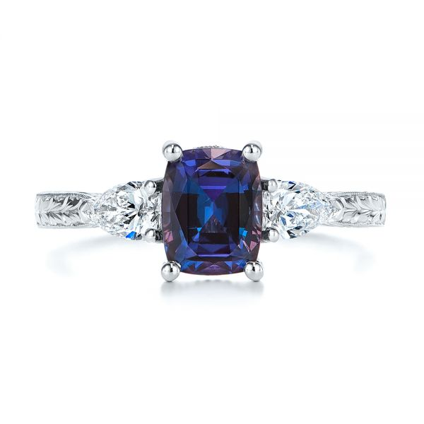 Platinum Three Stone Alexandrite And Pear Diamond Engagement Ring - Top View -  105844