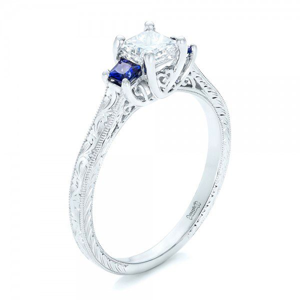 Three Stone Blue Sapphire and Diamond Engagement Ring