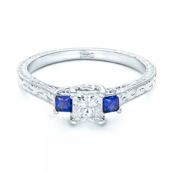 14k White Gold Three Stone Blue Sapphire And Diamond Engagement Ring - Flat View -