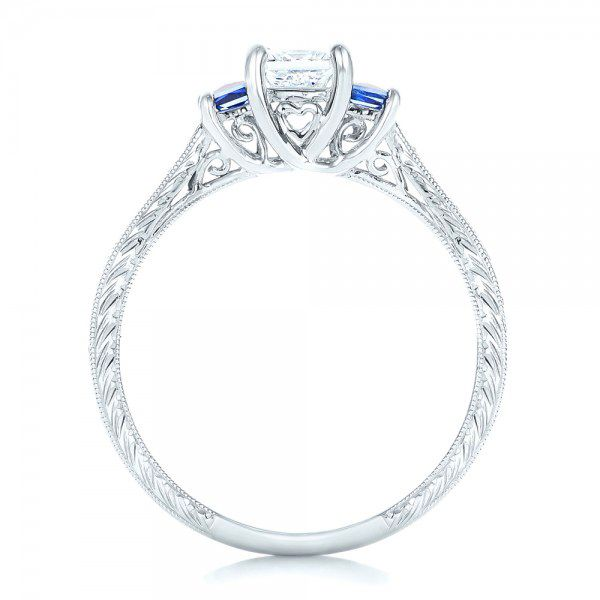 14k White Gold Three Stone Blue Sapphire And Diamond Engagement Ring - Front View -