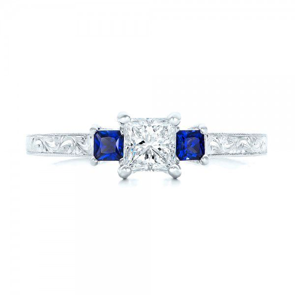 14k White Gold Three Stone Blue Sapphire And Diamond Engagement Ring - Top View -
