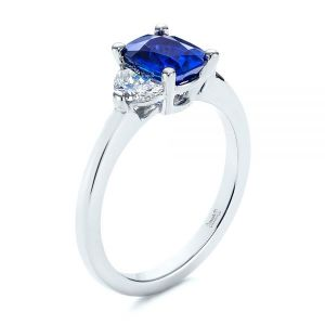Three Stone Blue Sapphire and Half Moon Diamond Engagement Ring - Image