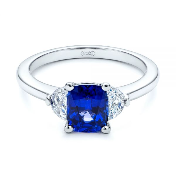 Platinum Three Stone Blue Sapphire And Half Moon Diamond Engagement Ring - Flat View -  105829 - Thumbnail