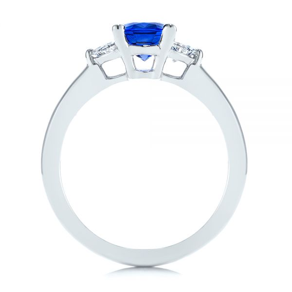 Platinum Three Stone Blue Sapphire And Half Moon Diamond Engagement Ring - Front View -  105829 - Thumbnail