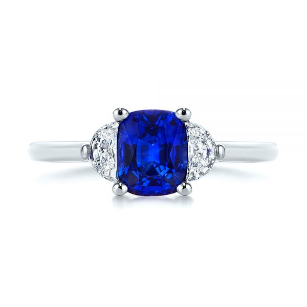 Platinum Three Stone Blue Sapphire And Half Moon Diamond Engagement Ring - Top View -  105829 - Thumbnail