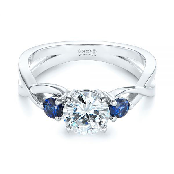 Three Stone Blue Sapphire and Moissanite Engagement Ring