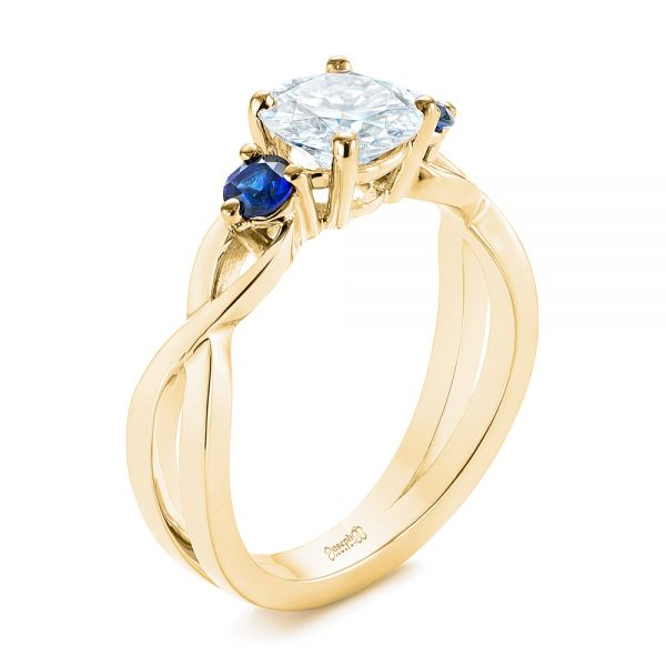 Three Stone Blue Sapphire and Moissanite Engagement Ring - Image