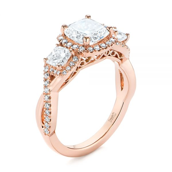 14k Rose Gold Three Stone Cushion Diamond Criss Cross Engagement Ring - Three-Quarter View -  105123
