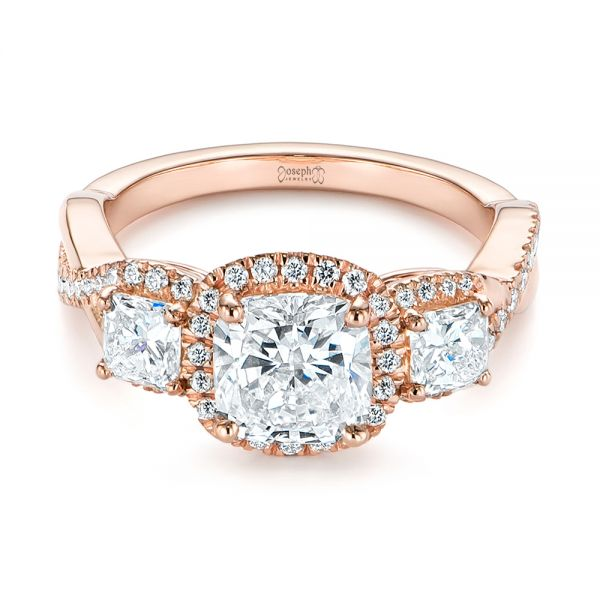 14k Rose Gold Three Stone Cushion Diamond Criss Cross Engagement Ring - Flat View -  105123