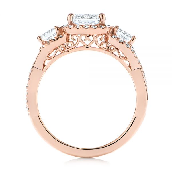 14k Rose Gold Three Stone Cushion Diamond Criss Cross Engagement Ring - Front View -  105123