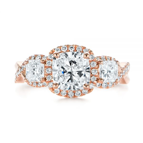 14k Rose Gold Three Stone Cushion Diamond Criss Cross Engagement Ring - Top View -  105123