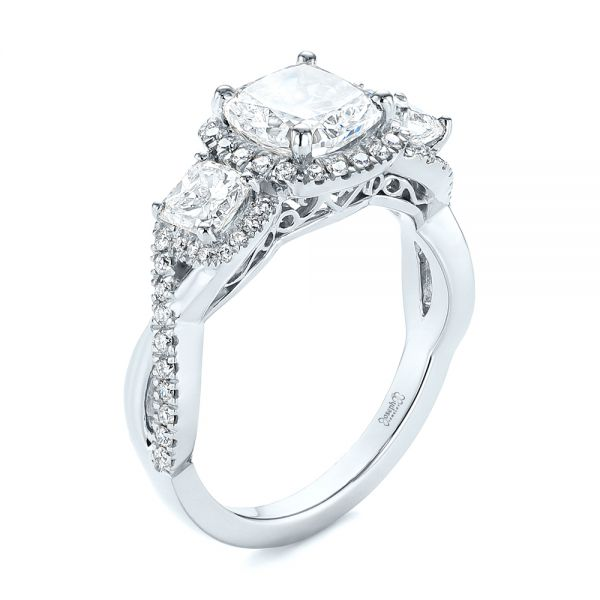 Three Stone Cushion Diamond Criss Cross Engagement Ring - Image