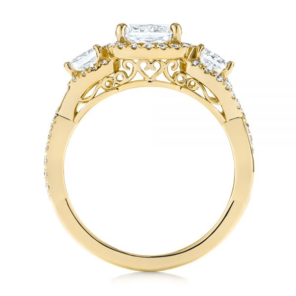 18K Yellow Gold Three Stone Cushion Diamond Criss Cross Engagement Ring - Front View -  105123 - Thumbnail