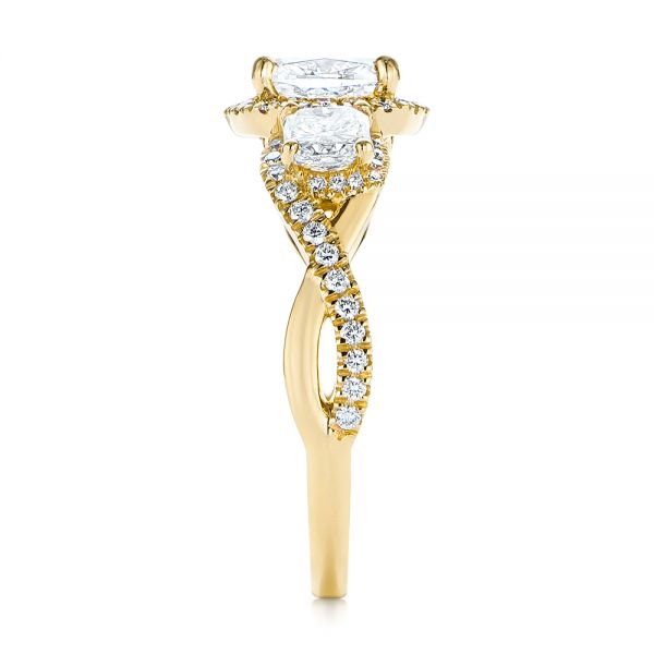 18K Yellow Gold Three Stone Cushion Diamond Criss Cross Engagement Ring - Side View -  105123 - Thumbnail