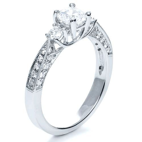 18k White Gold Three Stone Diamond Engagement Ring - Three-Quarter View -