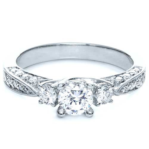 18k White Gold Three Stone Diamond Engagement Ring - Flat View -