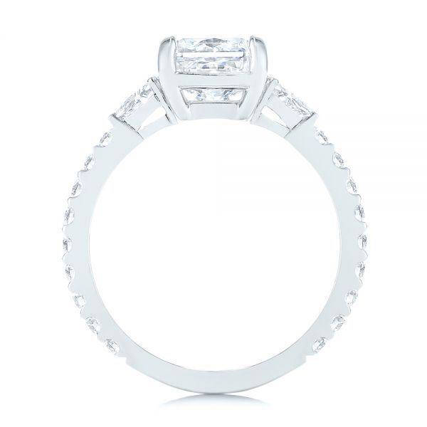 18k White Gold 18k White Gold Three Stone Diamond Engagement Ring - Front View -  105853